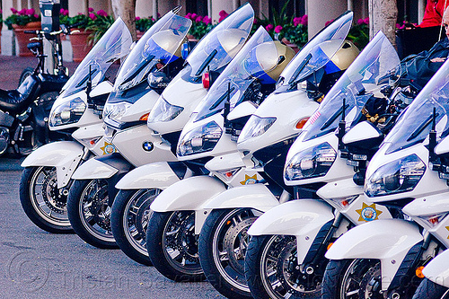 CHP motorcycles row - parked (san francisco), bmw, california highway patrol, chp, kawasaki concours 14 abs, law enforcement, motor cop, motor officer, motorbykes, motorcycle helmets, motorcycle police, motorcycles, parked, r1200, r1200rt-p, row, white