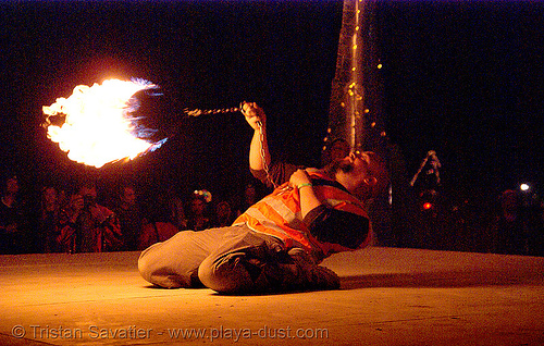 chris (controlled burn of reno) on the shiva vista stage - burning man 2007, burning man, chris, controlled burn, fire performer, fire spinning, flames, night, shiva vista stage, spinning fire