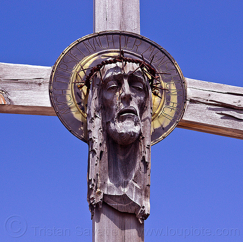 christ with barbwire crown, alps, barbwire, blue sky, crown, crucifix, dolomites, head, jesus christ, monte paterno, mountains, parco naturale dolomiti di sesto, sculpture, wood, wooden cross