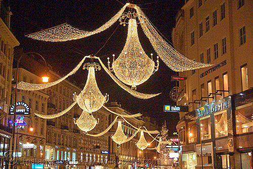 christmas lights in street (vienna), christmas decorations, christmas lights, night, street decorations, vienna, wien