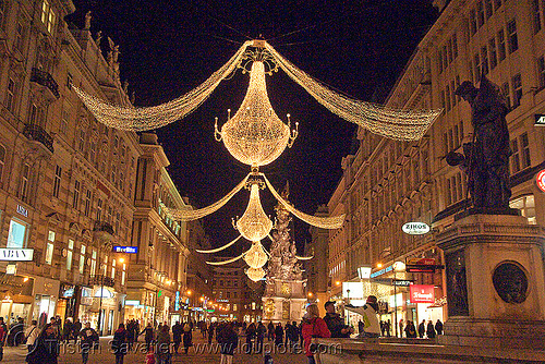 christmas street lights (vienna), christmas decorations, christmas lights, night, pedestrian street, street decorations, wien