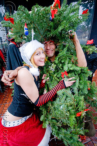 christmas tree costume - santacon, christmas tree, costume, couple, green, man, santa claus, santacon, santarchy, santas, takamuro, the triple crown, woman