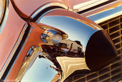 chrome cadillac bumper, 1957 cadillac dagmar, breast, car bumper, chrome, classic car, fender, pink, reflection