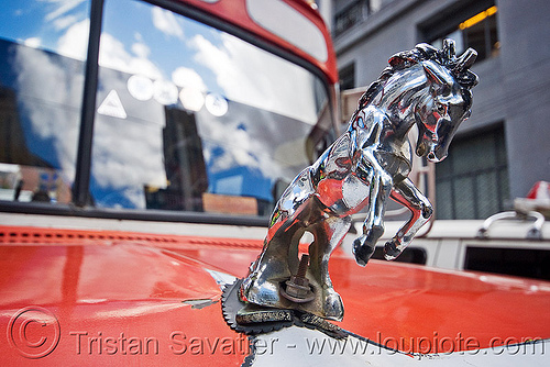 chrome hood ornament mustang stallion - horse, bolivia, bus, chrome, dodge, hood ornament, horse, la paz, lorry, mustang, stallion, truck