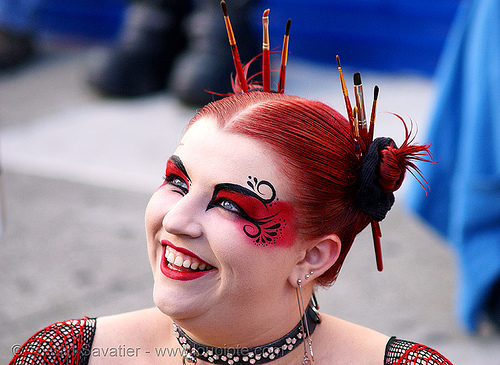 chrysalis rose, makeup artist - folsom street fair 2007 (san francisco), chrysalis rose, eye makeup, red hair, woman