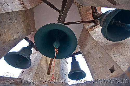church bells, bells, belltower, brass, campanil, catedral de potosí, cathedral, church tower, potosí