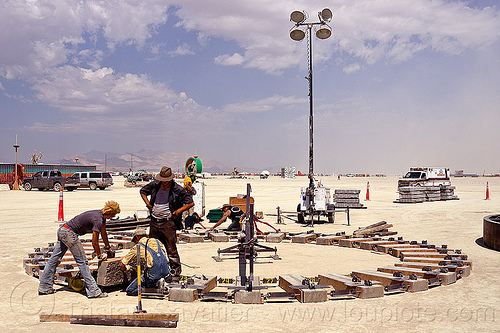 circular rail tracks construction - burning man 2012, the universe revolves around you, zachary coffin