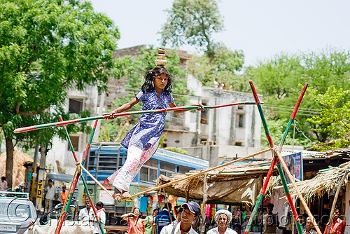 circus performer in village - young girl balancing on slack rope - near udaipur (india), artist, balancing, circus, india, performer, slack rope, udaipur