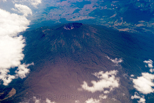 ciremai volcano, aerial photo, cereme, clouds, cone, crater, java, mountain, stratovolcano, volcanic cone, volcano crater