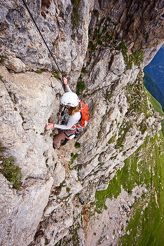 cliff climbing - via ferrata col rodella - dolomites, alps, climber, climbing harness, climbing helmet, dolomiti, mountain climbing, mountaineer, mountaineering, mountains, people, rock climbing, vertical, woman