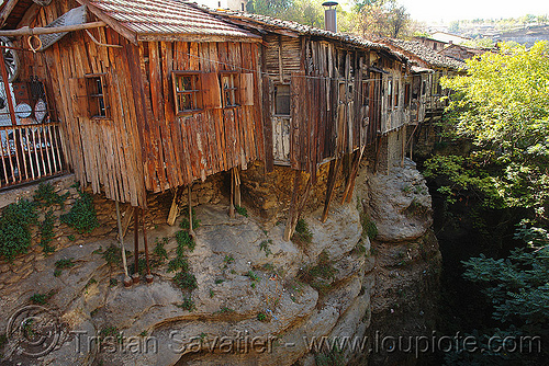 cliff houses (turkey), canyon, cliff, hanging, houses, wood, wooden