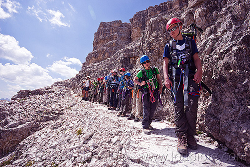 climbers in line - monte paterno via ferrata, alps, climbing, climbing harness, climbing helmet, dolomites, dolomiti, lined-up, montaineers, mountain climbing, mountaineer, mountaineering, mountains, parco naturale dolomiti di sesto, people, rock climbing, trail, waiting