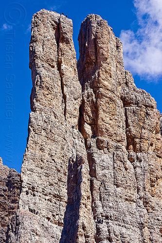 climbers rappelling down torri del vajolet vertical cliffs, abseiling, alps, cliff, climbers, dolomites, dolomiti, mountain climbing, mountaineer, mountaineering, mountains, rappelling, rock climbing, summit, torri del vajolet, vertical