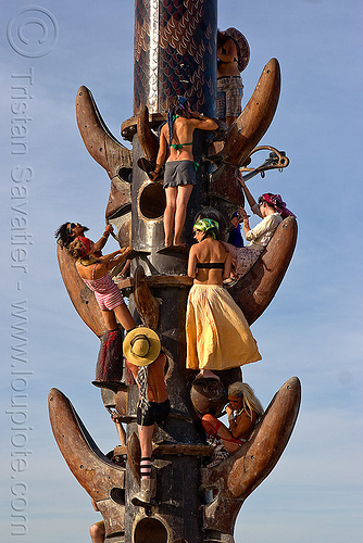 climbing the tower - burning man 2010, art installation, bryan tedrick, burning man, climbers, climbing, the minaret, tower
