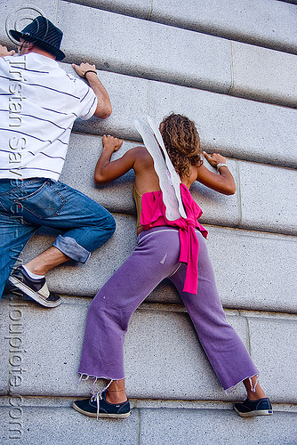 climbing a wall, civic center, climbing, festival, love fest, lovevolution, man, rock climbers, wall, woman