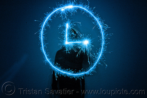 clock icon - light painting with a blue sparkler, blue, clock, dark, icon, light drawing, light painting, sarah, silhouette, sparklers, sparkles, symbol, time