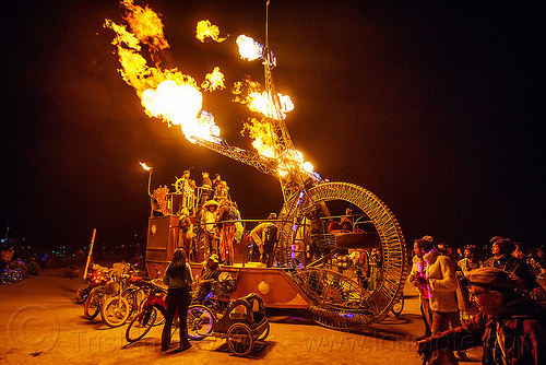 clock ship tere blowing fire - burning man 2015, art car, burning man, c.s. tere, clock ship tere, fire, mutant vehicles, night