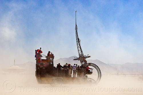 clock ship tere in white out (dust storm) - burning man 2013, art car, c.s. tere, people, playa, the lost machine