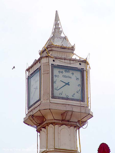หอนาฬิกา - เลขไทย - clock tower with traditional thai numbers - thailand, clock tower, street clock, thai numbers, thailand, เลขไทย