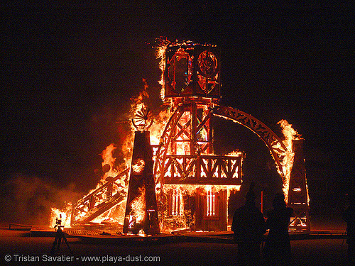 clockworks by liam mcnamara and crew - burning-man 2005, art, burn, burning man, clock tower, clockworks, fire, flames, liam mcnamara, night