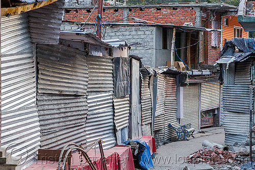 closed shops in gangotri (india), bhagirathi valley, closed, corrugated metal, gangotri, shops, street