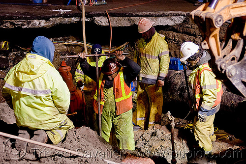 closing a cut-off water valve utility workers fixing broken water main (san francisco), awwa c515, construction workers, cut-off valves, gate valves, hetch hetchy water system, high-visibility vest, infrastructure, night, reflective vest, repairing, resilient, safety helmet, safety vest, sfpuc, sink hole, utility crew, utility workers, water department, water main, water pipe, working