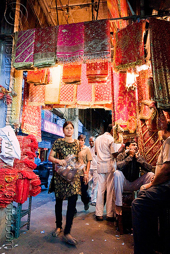 cloth store - street - delhi (india), bazar, fabric, night, people