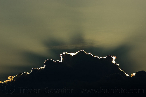 cloud silverlining and crepuscular rays, backlight, cloud, crepuscular rays, shadows, silverlining, sun rays, sunset