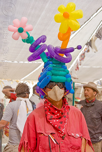 clown balloons hat - flower balloons, balloon flower, balloon hat, burning man, center camp, clown balloons, dust mask