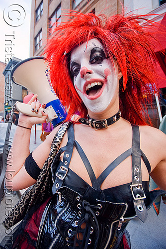 clown with bullhorn - woman - red hair - gooferman, bullhorn, clown, face painting, facepaint, gooferman, how weird festival, red hair, woman