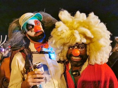 clowns - burning man 2019, burning man, clowns, men