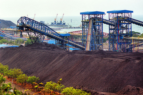 coal conveyors and stockpile, coal fired, conveyors, electricity, energy, factory, heap, industrial, java, paiton complex, power generation, power station, stockpile