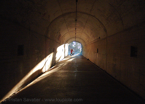 cold war tunnel (marine headlands, san francisco), adit, architecture, army, backlight, battery 129, bunker tunnel, cold war, hawk hill, jump, jumpshot, marine headlands, military tunnel, sf-87c, shadows, sharon, woman