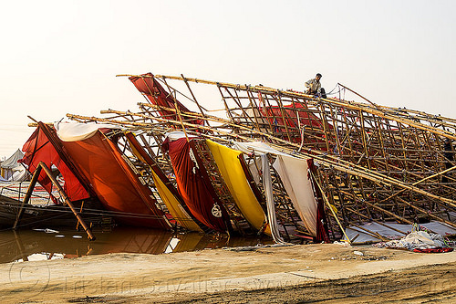 collapsed bamboo mesh structure (india), ashram, bamboo structure, broken, collapsed, destruction, gate, hindu pilgrimage, hinduism, india, maha kumbh mela