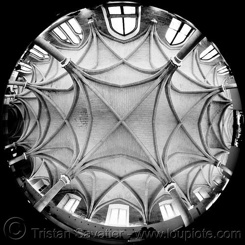 collège des bernardins - gothic architecture - stone vaults - monastery (paris), architecture, cistercian, collège des bernardins, fish-eye, gothic, medieval, monastery, paris, stone vaults