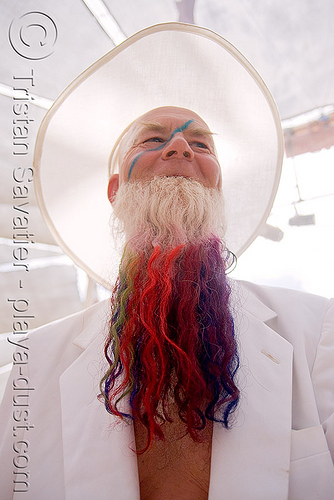colored beard, beard, burning man, center camp, colored, hat, riqo, white