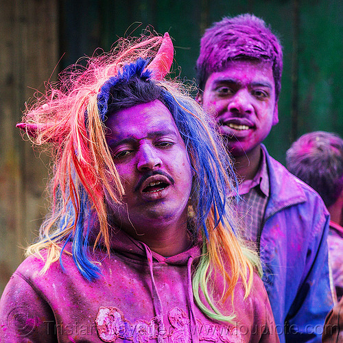 colored faces during holi festival of colors (india), blue, dye, hindu, horns, mani, men, people, pink, powder, purple, west bengal, wig