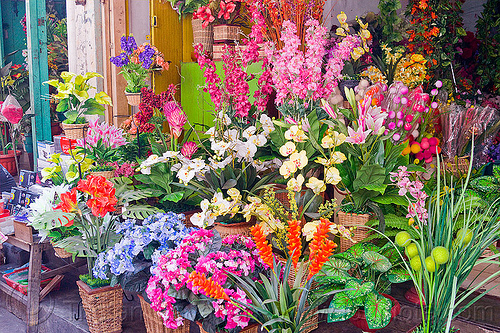 colorful artificial flowers - jogjakarta (java), artificial flowers, fake flowers, flower shop, indonesia, jogja, yogyakarta