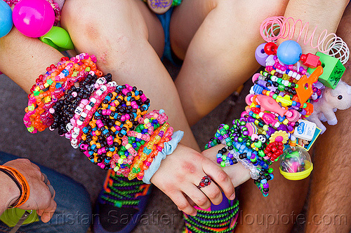 colorful bead bracelets - kandi cuffs, arm, beads, clothing, fashion, gay pride festival, hand, kandi bracelets, kandi cuffs, kandi kid, kandi raver, party, plur, woman, wrists