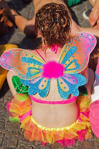colorful fairy costume, butterfly costume, butterfly wings, fairy costume, festival, gay pride, glittery, paris, woman