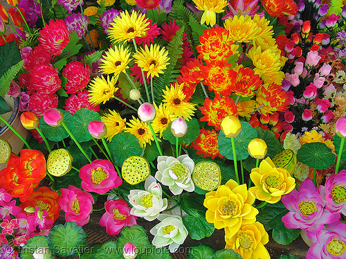 colorful fake flowers, artificial flowers, colorful, fake flowers, hué, vietnam