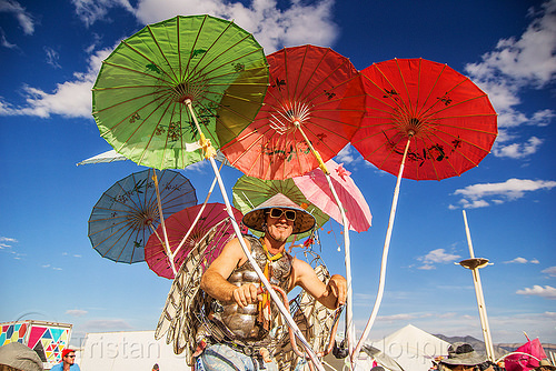 colorful japanese umbrellas - burning man 2016, asian conical hat, burning man, colorful, japanese umbrellas, red, trike