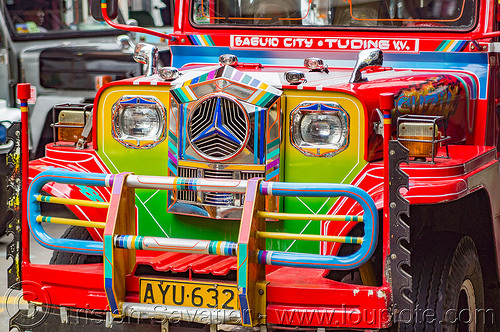 colorful jeepney front grill (philippines), baguio, colorful, decorated, front grill, jeepney, painted, philippines, truck