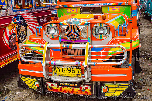 colorful jeepney - front grill (philippines), baguio, colorful, decorated, front grill, jeepney, painted, philippines, truck