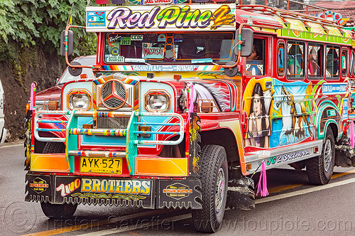 colorful jeepney (philippines), baguio, colorful, decorated, front grill, jeepney, painted, philippines, road, truck