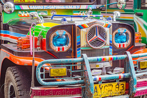 colorful jeepney (philippines), baguio, colorful, decorated, front grill, jeepney, painted, philippines, truck