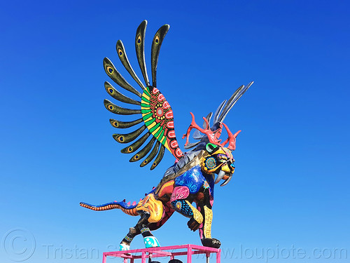 colorful mythological flying animal sculpture - burning man 2019, art installation, burning man, colorful, sculpture, statue