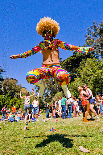 colorful woman jumping, afro hair, bay to breakers, footrace, golden gate park, jump, jumpshot, lawn, street party, woman