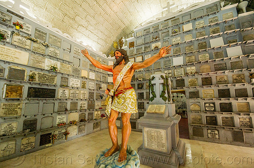 columbarium - san augustin church - manila (philippines), cemetery, columbarium, graves, jesus christ, manila, philippines, sacred art, san augustin church, standing, statue, tombs