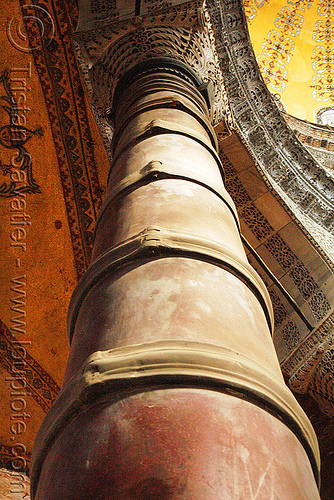 column reinforced with steel straps, architecture, aya sofya, byzantine, church, clasps, column, consolidated, consolidation, hagia sophia, inside, interior, islam, metal, mosque, orthodox christian, reinforcement, religion, retrofit, steel, strapping, straps